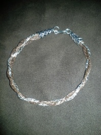 Three metals woven together in 34 ga wire- one of my (Masquerade) personal favorites.