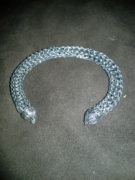 Woven Wrist Torc in Sterling with a steel core
